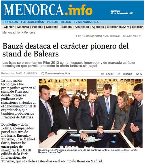 El presidente de Baleares Bauza enseñando a los principes y el ministro Soria la innovacion en el Stand de Baleares
